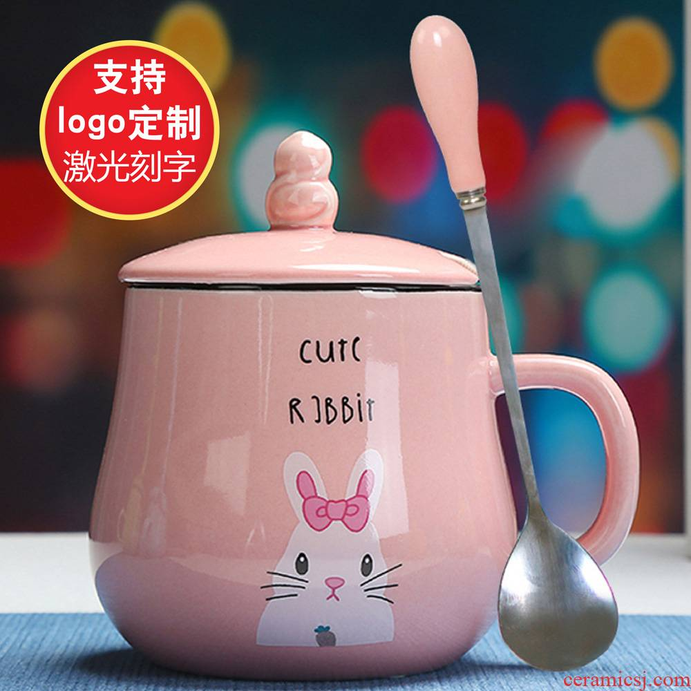 Creative cartoon keller cup ceramic cup with cover spoon, express it in picking cups of milk cereal breakfast coffee cup