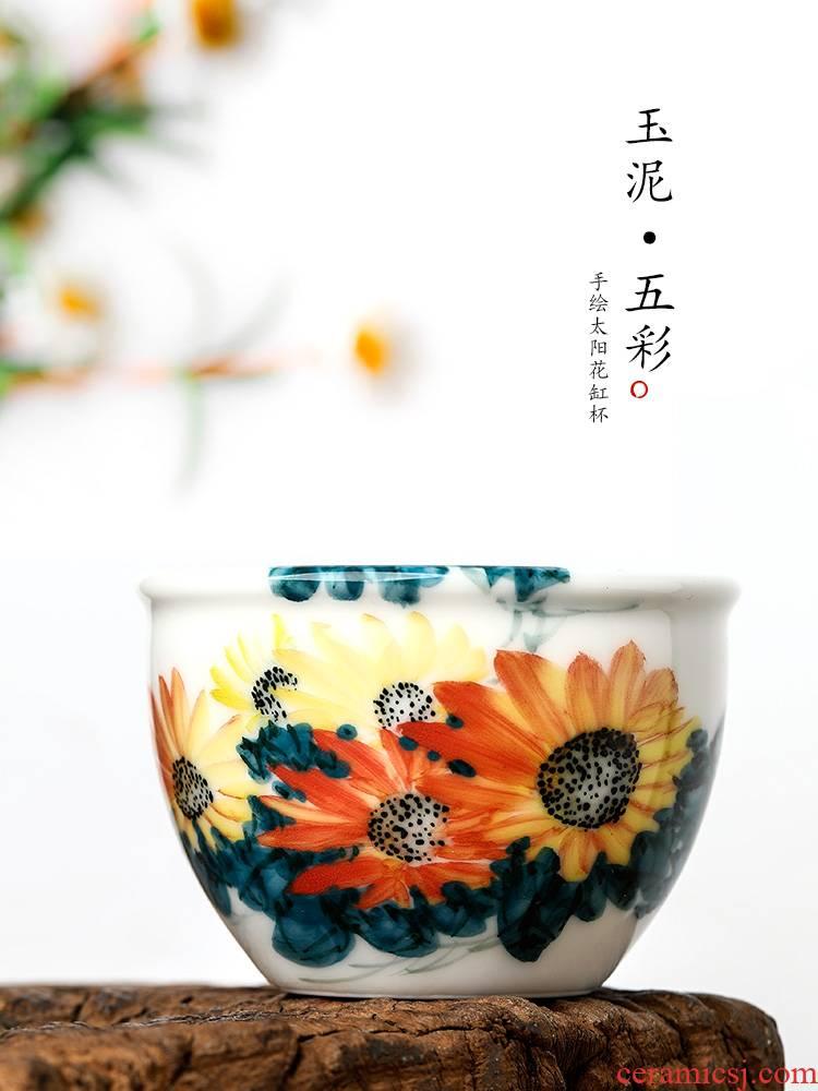 Jingdezhen porcelain masters cup a cup of pure checking sample tea cup single hand tea urn kung fu tea cups ceramic tea set