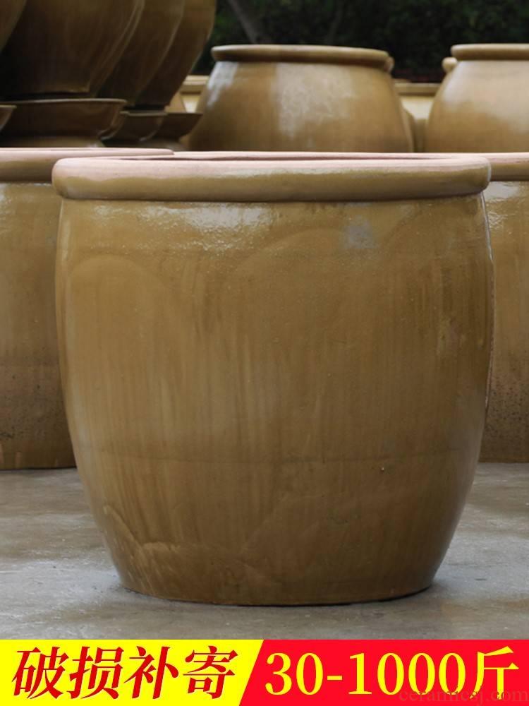 Coarse pottery size old water household ceramic garden lotus pond lily aquarium tank bacon JiangGang gulp