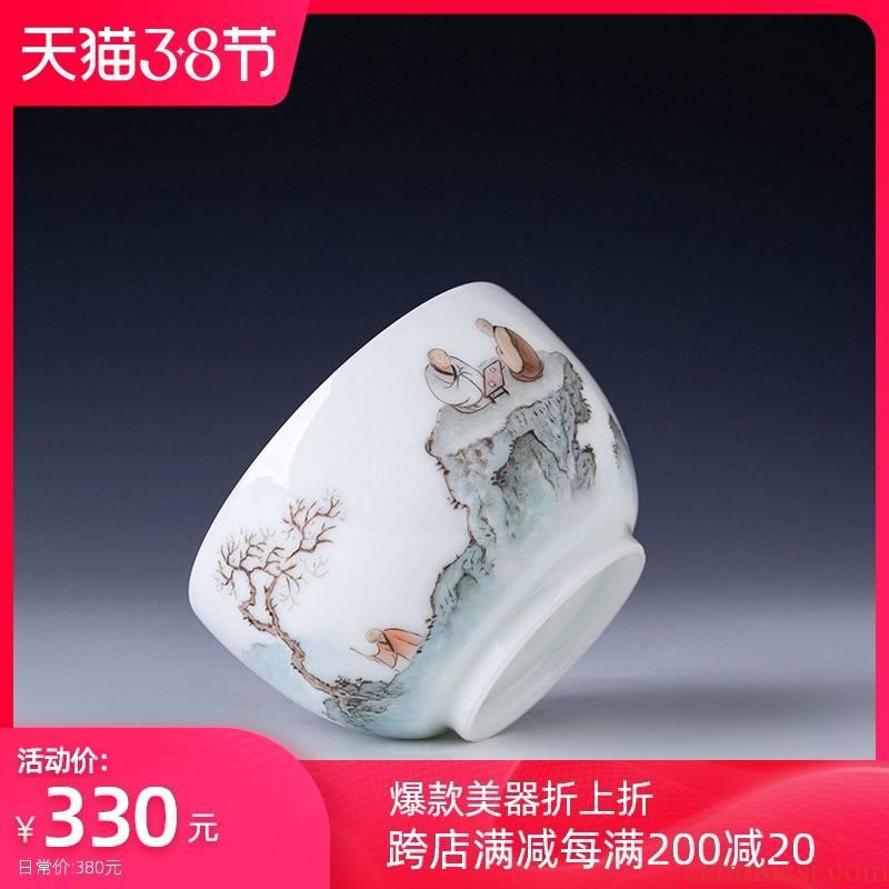 Santa teacups hand - made ceramic kung fu new see colour character master cup all hand jingdezhen tea sample tea cup single CPU