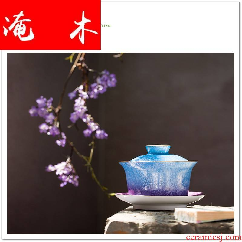 Submerged wood (jingdezhen) super tureen hand - made tea bowl grilled ceramic famille rose to plunge into the tea set