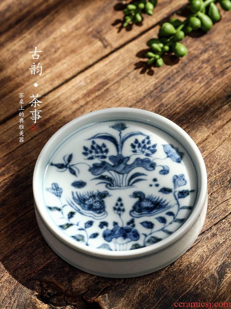Jingdezhen pure manual yuan green cover buy blue cover a ceramic kung fu tea set with parts teapot cup mat hand - made mandarin duck