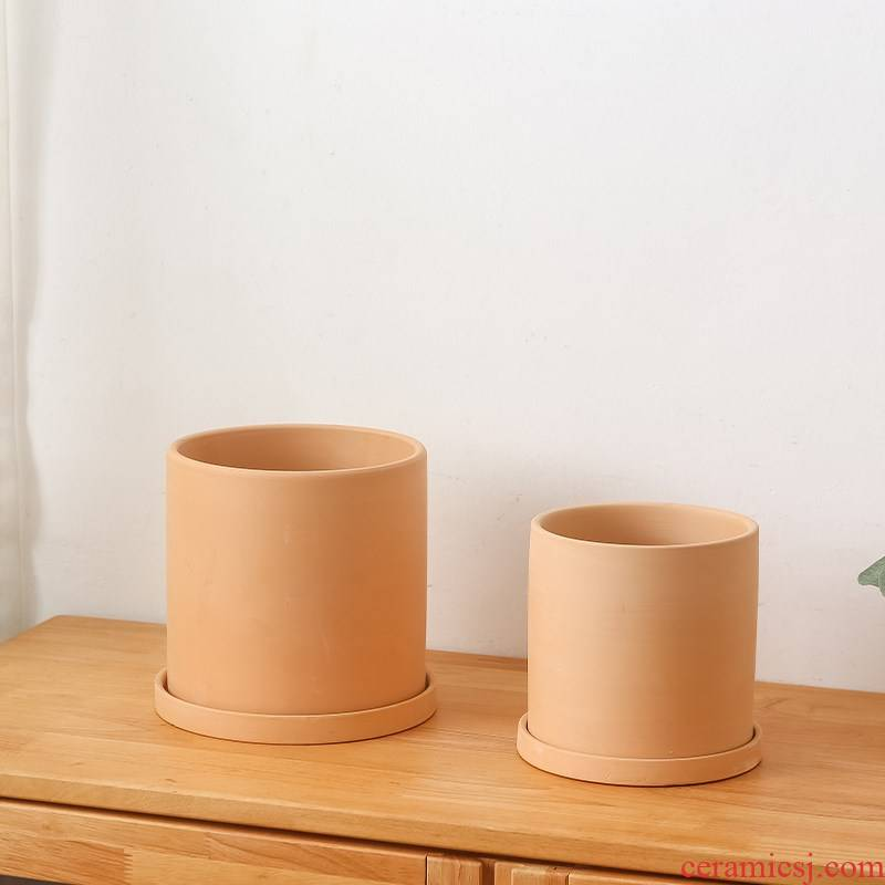 Clay permeability biscuit firing Nordic cylindrical straight flowerpot meaty plant green plant pot made of baked Clay mud clearance sale