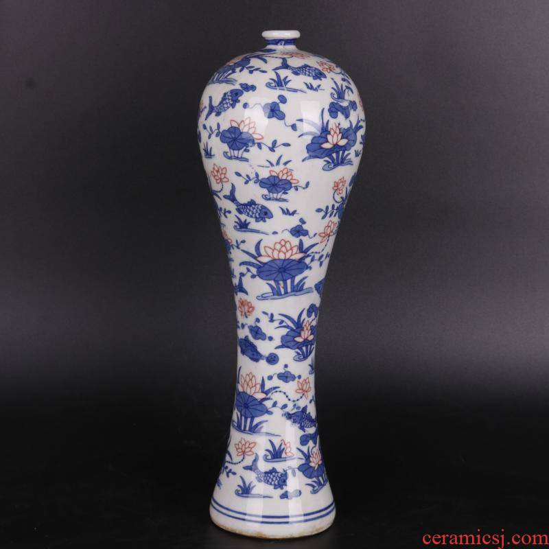 Blue and white lotus water - wave mei the qing qianlong bottle decals antique crafts porcelain household of Chinese style furnishing articles old goods collection