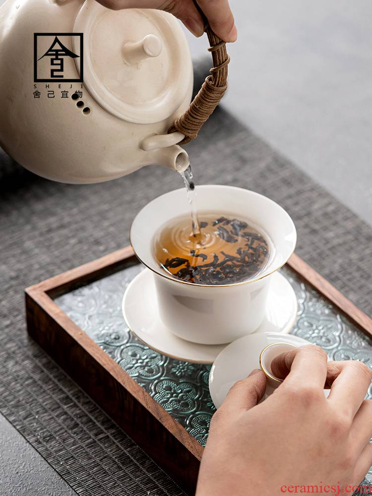 """The Self - """"appropriate content three to dehua white porcelain bowl tureen cup single contracted jade porcelain GaiWanCha kung fu tea set"""