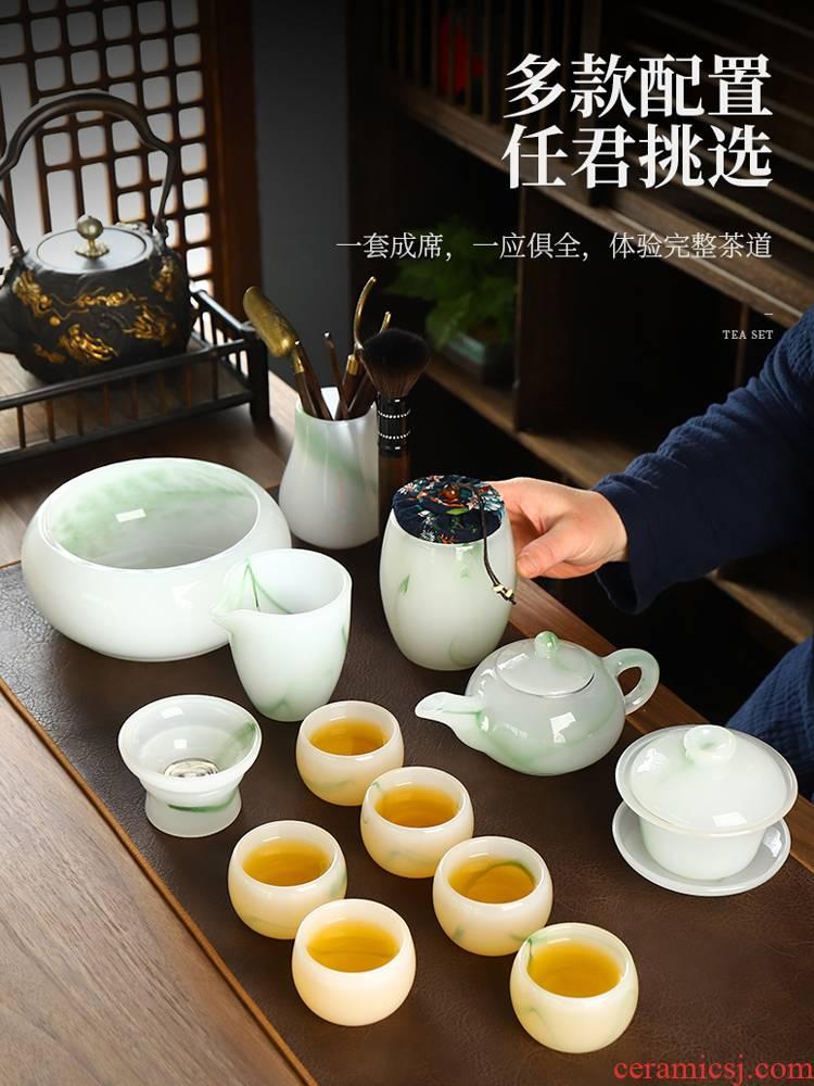 Recreational product high - grade tureen coloured glaze jade porcelain cups kung fu tea set suit emerald green tea cup gift boxes