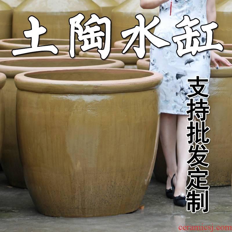 Old fish tank landscape lotus pond lily ceramic cylinder pickles earthenware household paste small cylinder barrel pickles