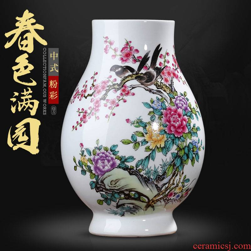 Jingdezhen ceramics Chinese vase flower arranging dried flowers sitting room TV ark, place of the sitting room porch home decoration