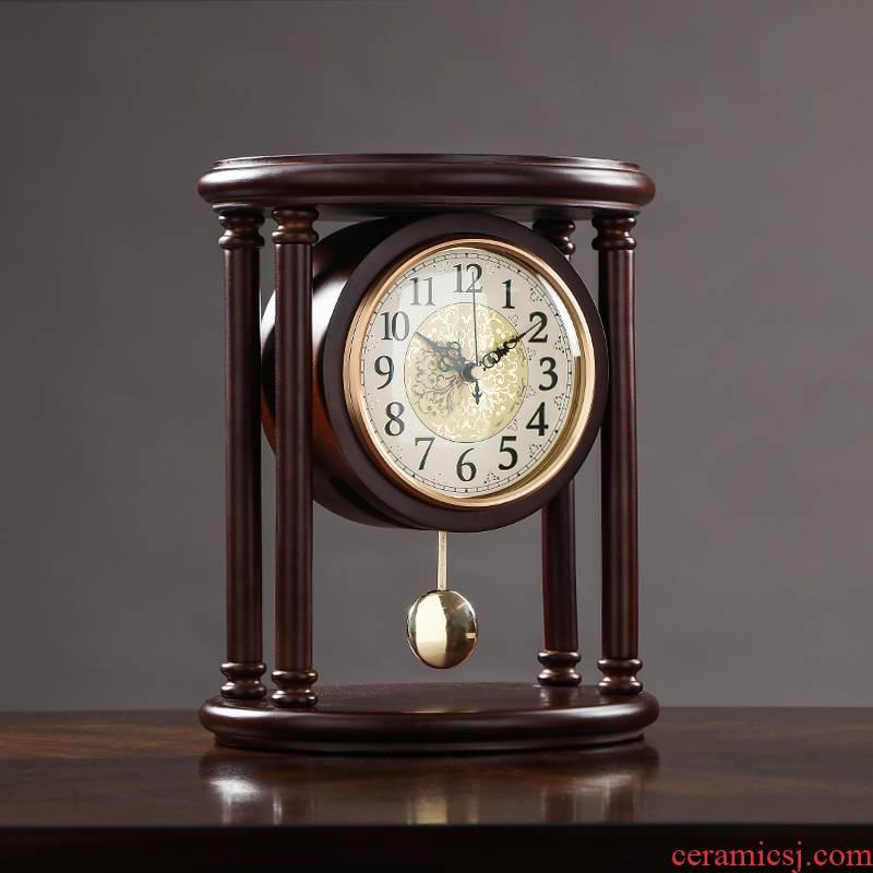 Lulu creative real wood desk clock retro.mute seated clock home sitting room desktop desktop pendulum clock old clocks and watches