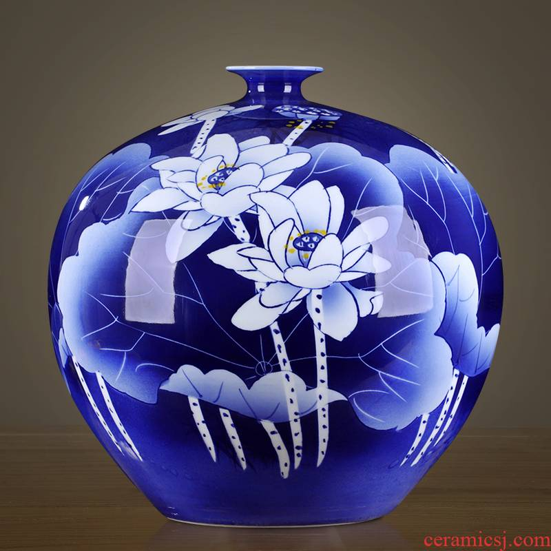 Hand made small expressions using of jingdezhen blue and white porcelain ceramic vase classical household porcelain rich ancient frame wine bottle decoration furnishing articles