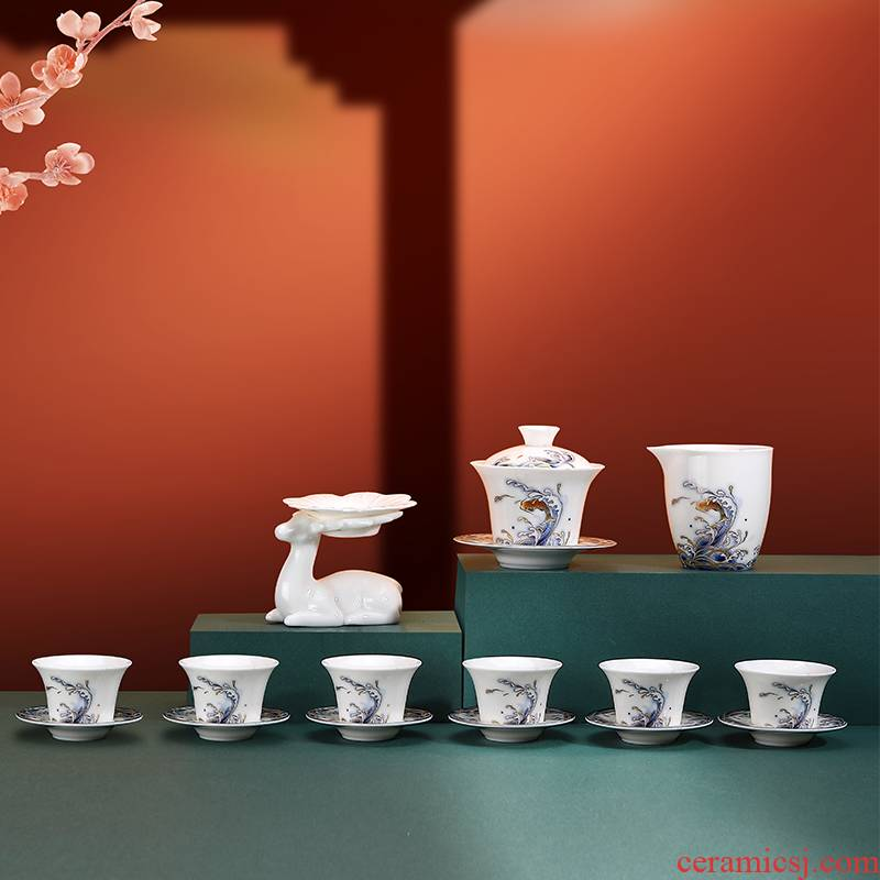 High - grade suits for home office dehua suet jade white porcelain enamel kung fu tea tureen gift boxes