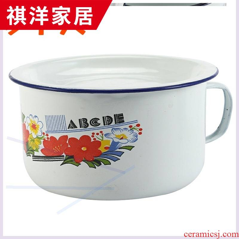 Students in the bowls with cover the old household porcelain basin classic nostalgic lunch box creative move thickening enamel POTS in the kitchen
