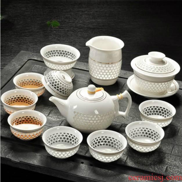 Suit white porcelain teapot teacup kung fu tea tureen hollow honeycomb and exquisite simplicity ceramic tea