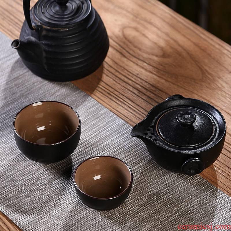 Hui shi portable travel ceramic tea set a pot of two glass ceramic crack cup is suing with kung fu tea pot