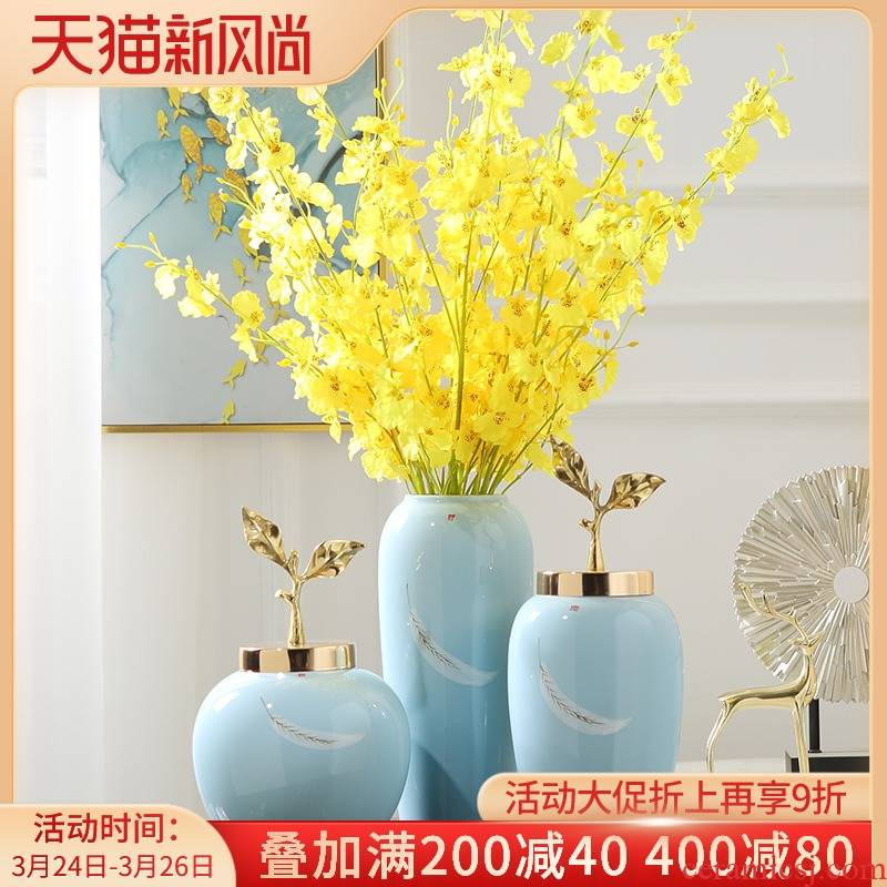 Light the key-2 luxury of new Chinese style ceramic vase flower arranging simulation flower - stand surface table furnishing articles, the sitting room porch TV ark, adornment