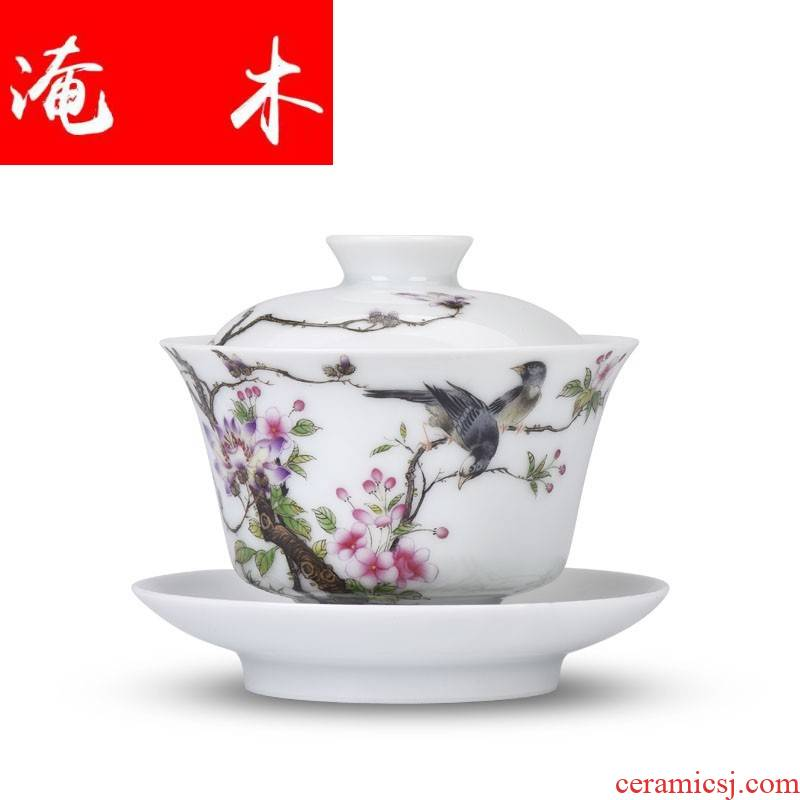 Submerged wood jingdezhen porcelain enamel see hand - made flowers and birds all hand three tureen kung fu tea cup lamp