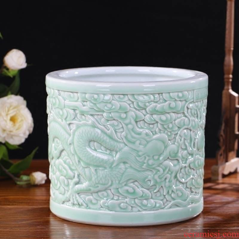 Jingdezhen ceramics engraving blue glaze big brush pot furnishing articles antique calligraphy and painting cylinder receive decorative gift dragon playing bead