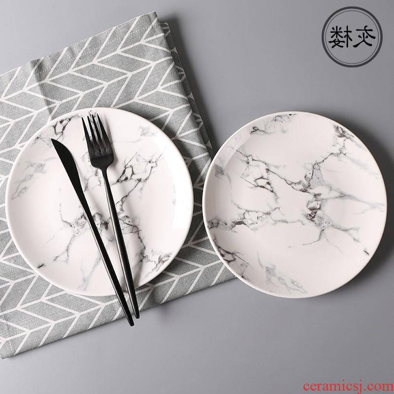The kitchen marble tableware ceramic plates home dinner salad plate creative bowl dish dish suits for ceramics
