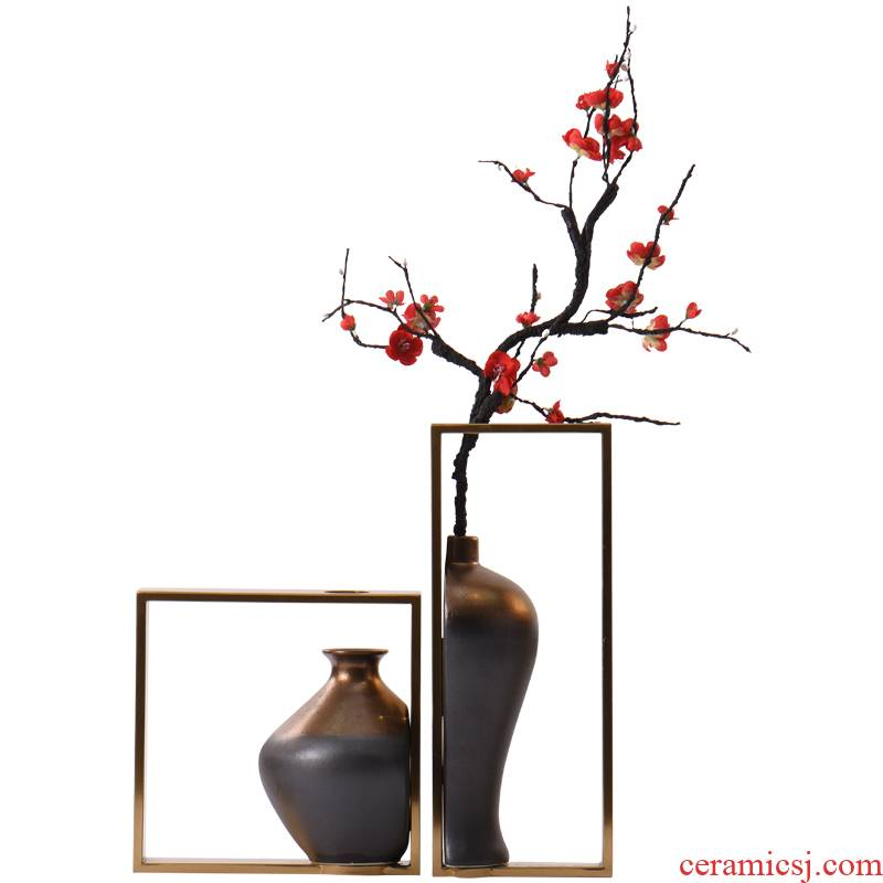 Authentic new Chinese zen floral decoration ceramic vase in the sitting room, dining - room table example room hotel home decoration