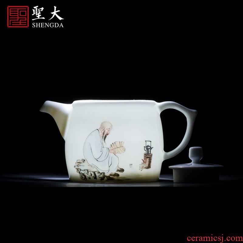 Holy big teapot hand - made ceramic kung fu new color figure Fried tea pot teapot single pot all hand of jingdezhen tea service