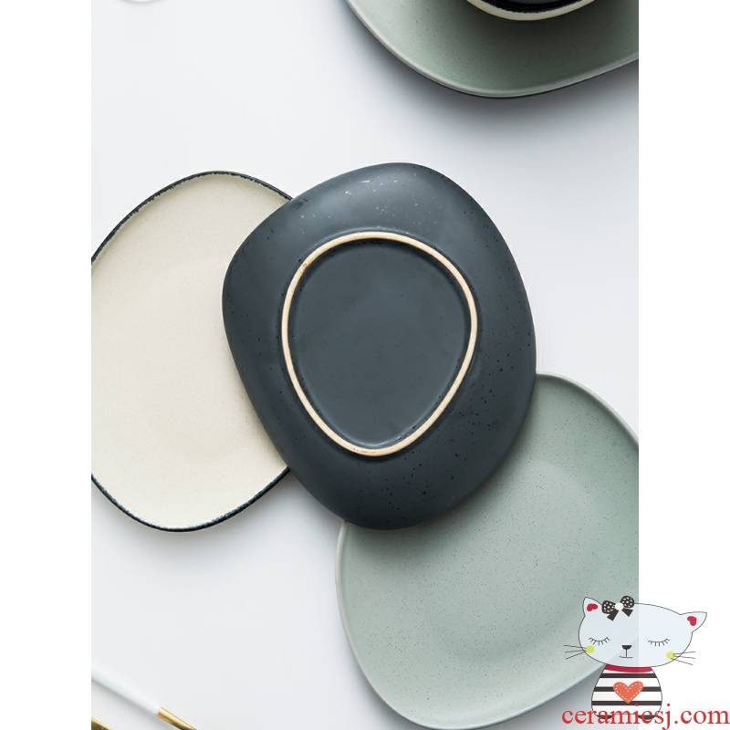 Degree of rocky with Nordic ceramic plate suit Japanese dish salad vegetable dish plate beefsteak small flat