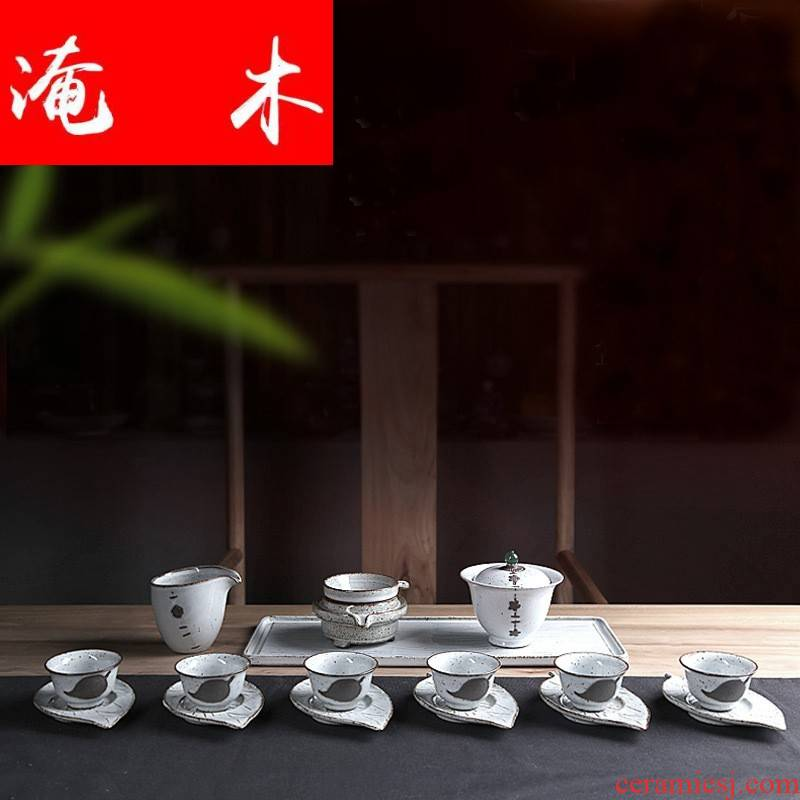Submerged wood up tea set a complete set of kung fu tea set restoring ancient ways with a piece of ceramic cups box lid bowl