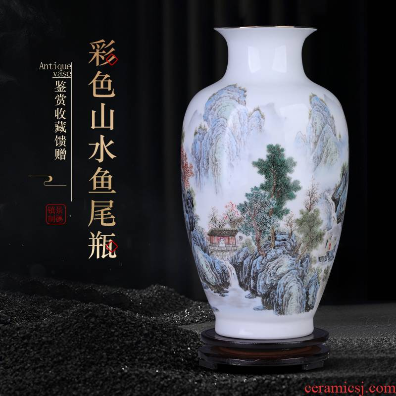 Jingdezhen paint thin foetus landscape ceramic vase furnishing articles of new Chinese style living room TV cabinet flower arranging porcelain arts and crafts