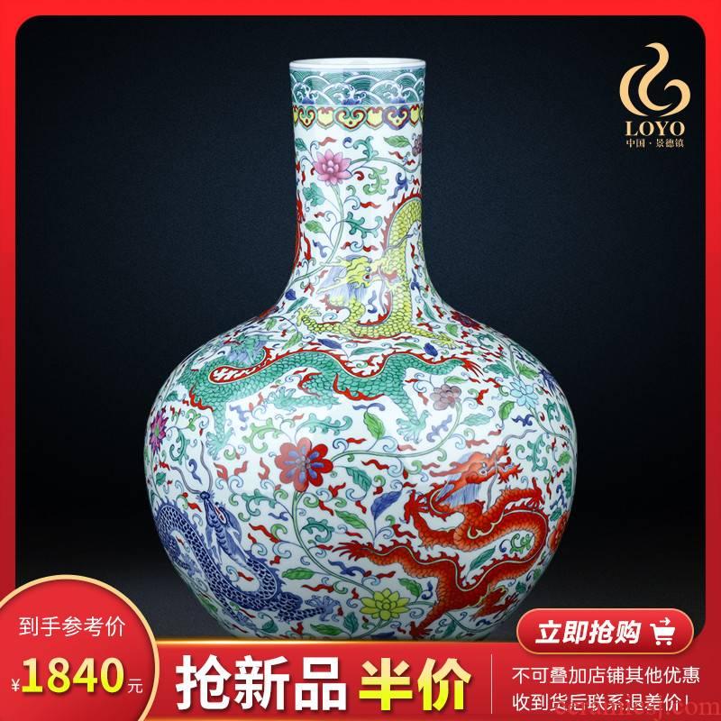 Jingdezhen blue and white ceramics bucket color porcelain vase large celestial Chinese flower arranging sitting room decorations TV ark, furnishing articles