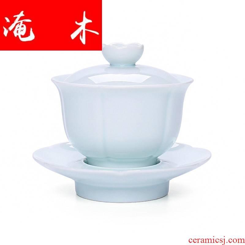 Submerged wood craft jade porcelain tureen large three just tureen jingdezhen ceramic tea set, kung fu teapot teacup
