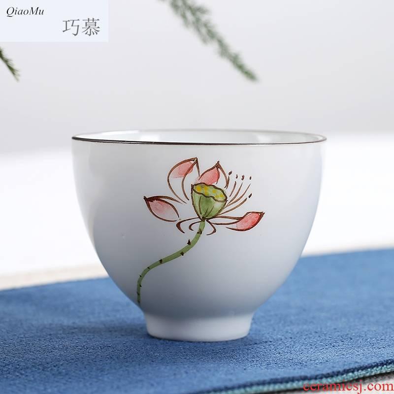 Qiao mu dehua white porcelain hand - made ceramic cups of jade porcelain personal kung fu tea sample tea cup single cup large master CPU