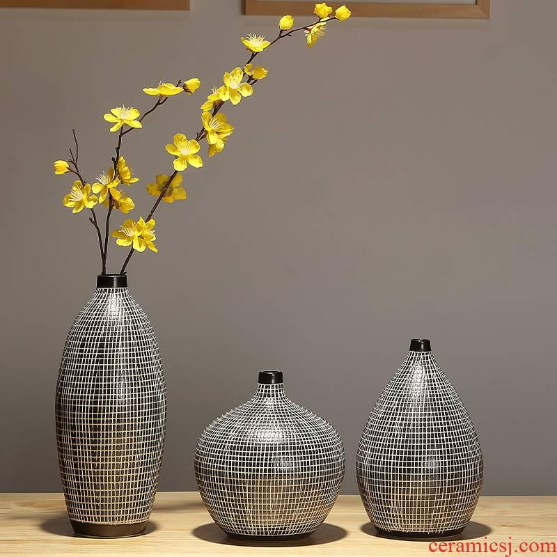 Jingdezhen ceramic furnishing articles table sitting room adornment flower arranging dried flower vase household creative TV ark, decoration