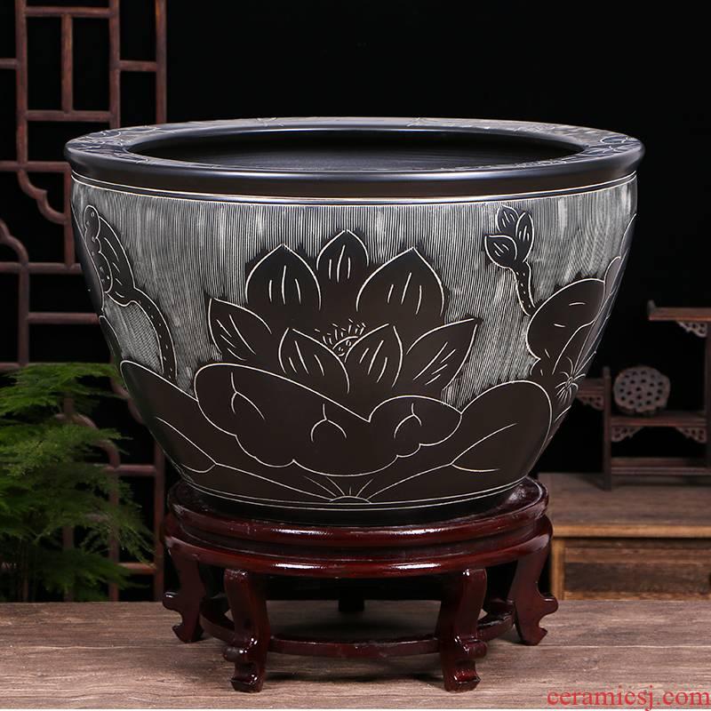 Jingdezhen ceramic aquarium oversized home furnishing articles lotus lotus cylinder tortoise raise goldfish bowl ornaments