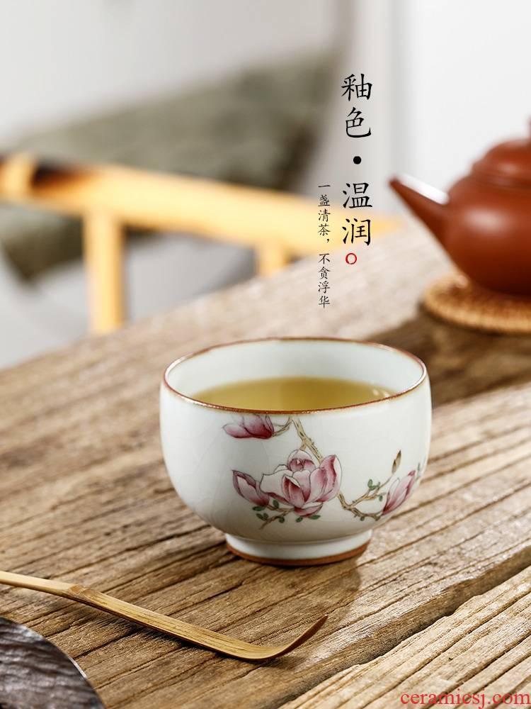 Jingdezhen pure manual master kung fu tea cup single CPU ceramic tea set a single hand - made demand cup sample tea cup