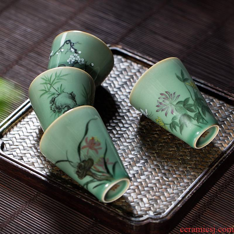 The Owl up jingdezhen tea kungfu teacups hand - made by patterns name plum green, small sample tea cup four suits for