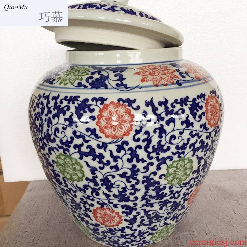 Qiao mu 15 pounds with blue and white porcelain barrel with cover rice bucket 30 jin of rice storage box household insect moisture - proof seal surface