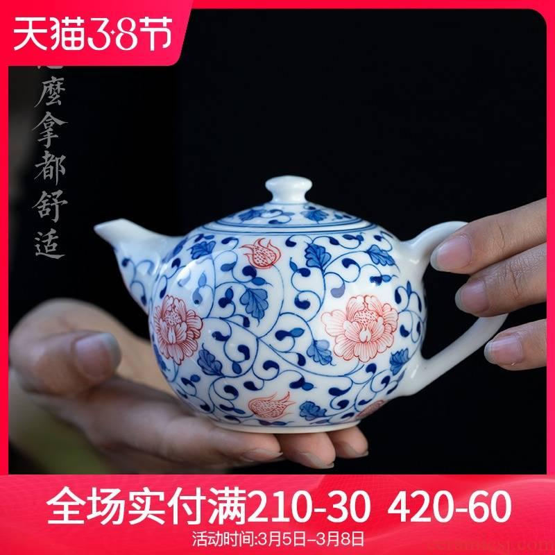 Jingdezhen ceramic kung fu hand - made porcelain teapot youligong household small single pot of tea tea is tea kettle