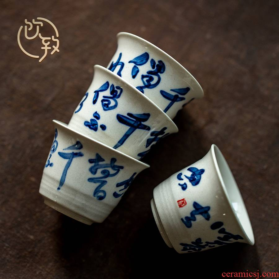Ultimately responds to plant ash glaze sample tea cup jingdezhen blue and white porcelain hand - made teacup with personal cup single CPU master CPU