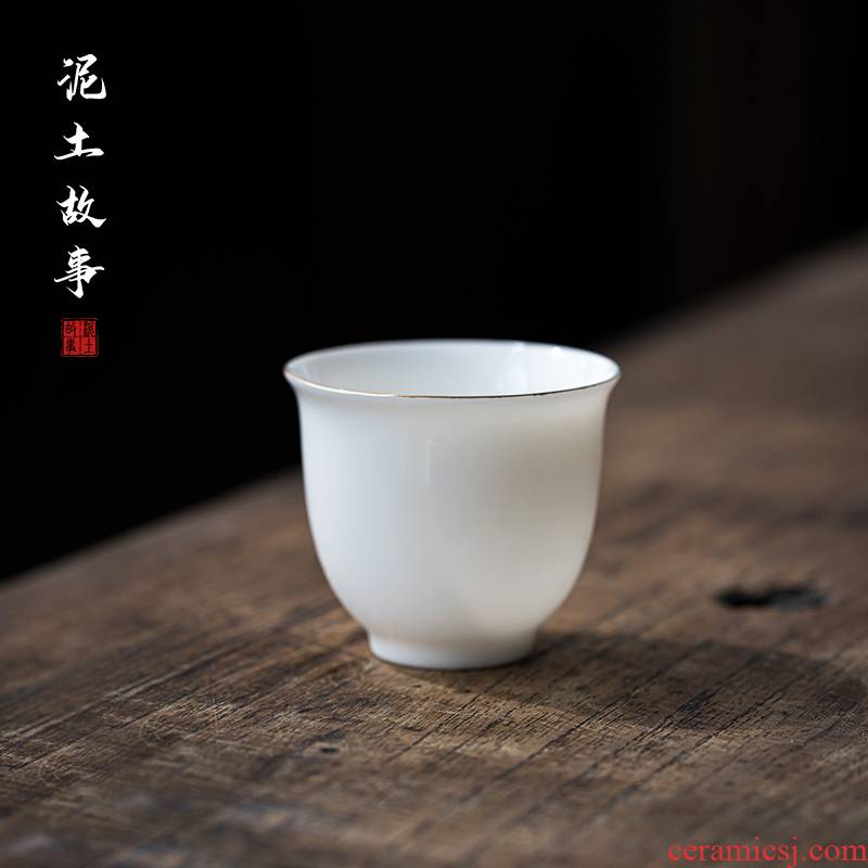 Dehua white porcelain sample tea cup suet jade hand paint kung fu tea poly real incense cup single pu - erh tea cups