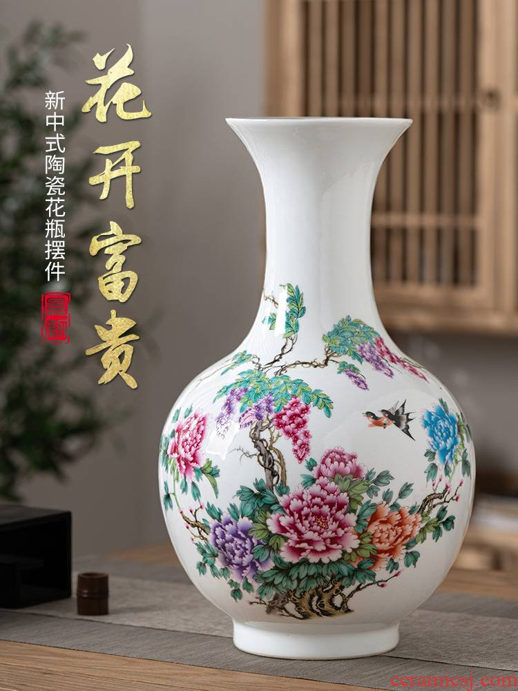 The New Chinese jingdezhen ceramics furnishing articles peony vases flower arranging rich ancient frame porch zen retro sitting room adornment
