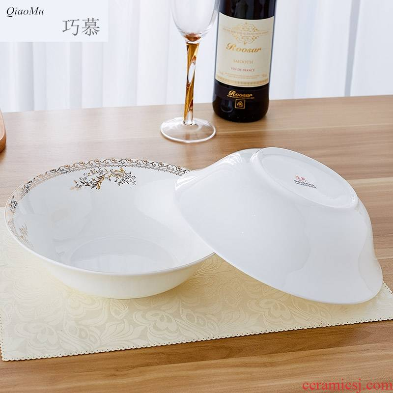 Qiao mu 9 inches large soup bowl ipads China jingdezhen 9 inches hat to bowl of salad bowl Korean creative up phnom penh household
