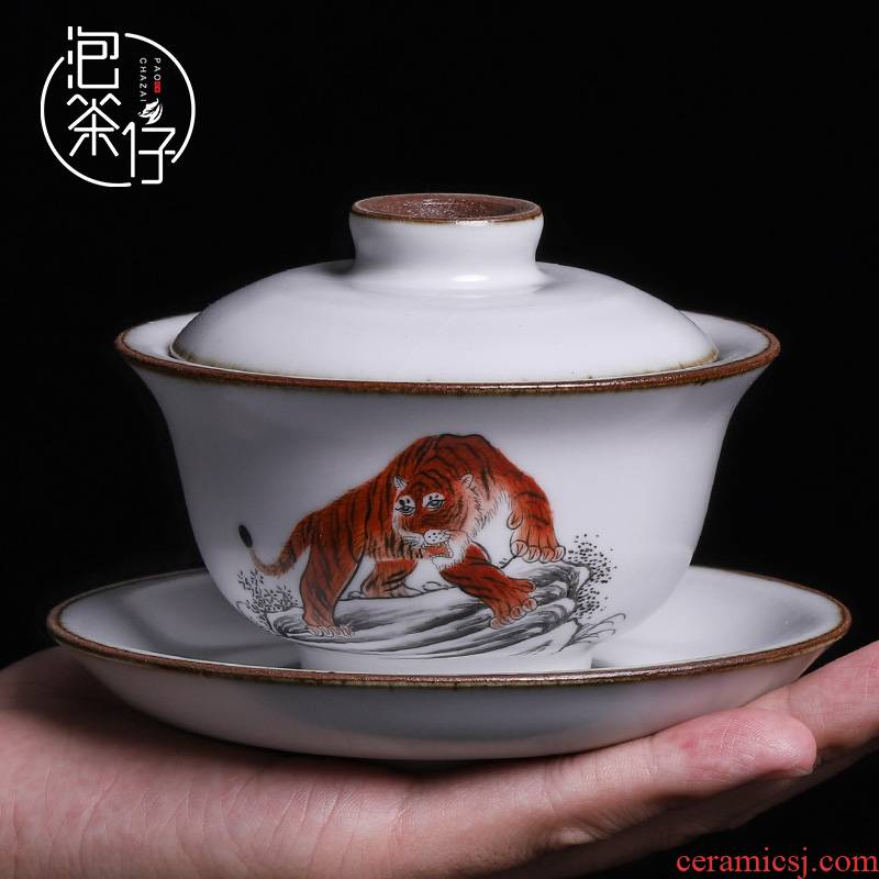Hand - made only three cups of tureen jingdezhen single suit pure manual your up tea cups small Hand grasp pot of restoring ancient ways