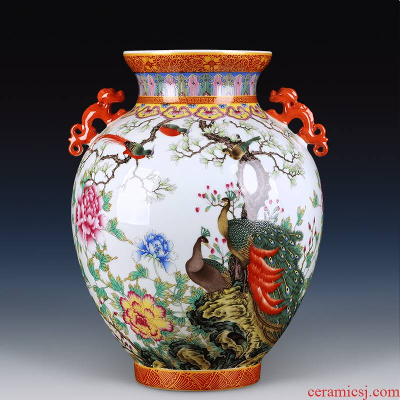 Jingdezhen ceramics ears colored enamel vase furnishing articles antique bottles of Chinese style living room TV cabinet decoration by the peacock