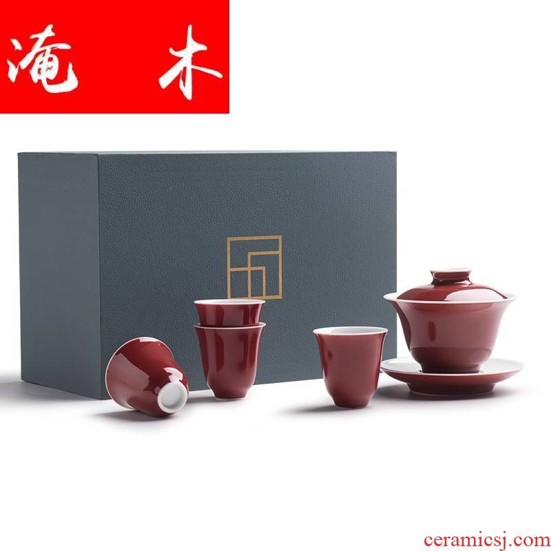 Flooded red wood offering only three tureen ceramic kung fu tea set tea bowl of jingdezhen manual ji red cups