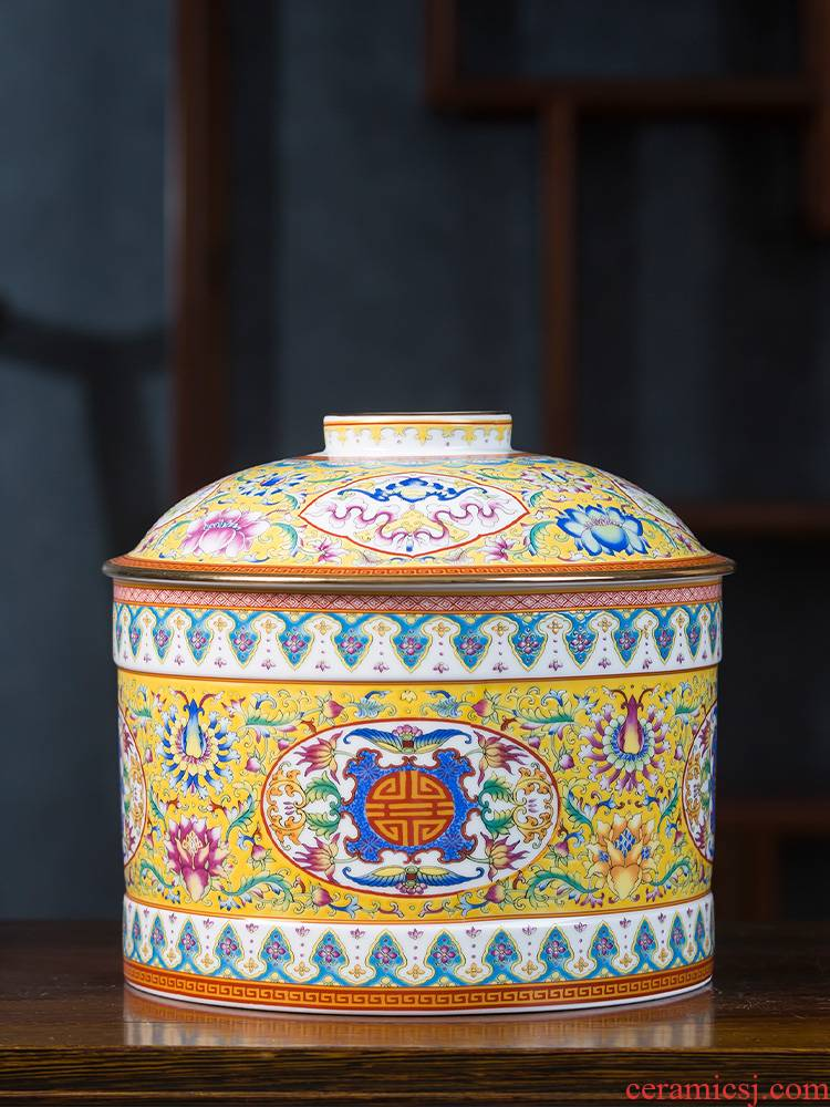 Jingdezhen ceramic colored enamel caddy fixings wake pu 'er tea cake as cans sealed container storage tank large antique