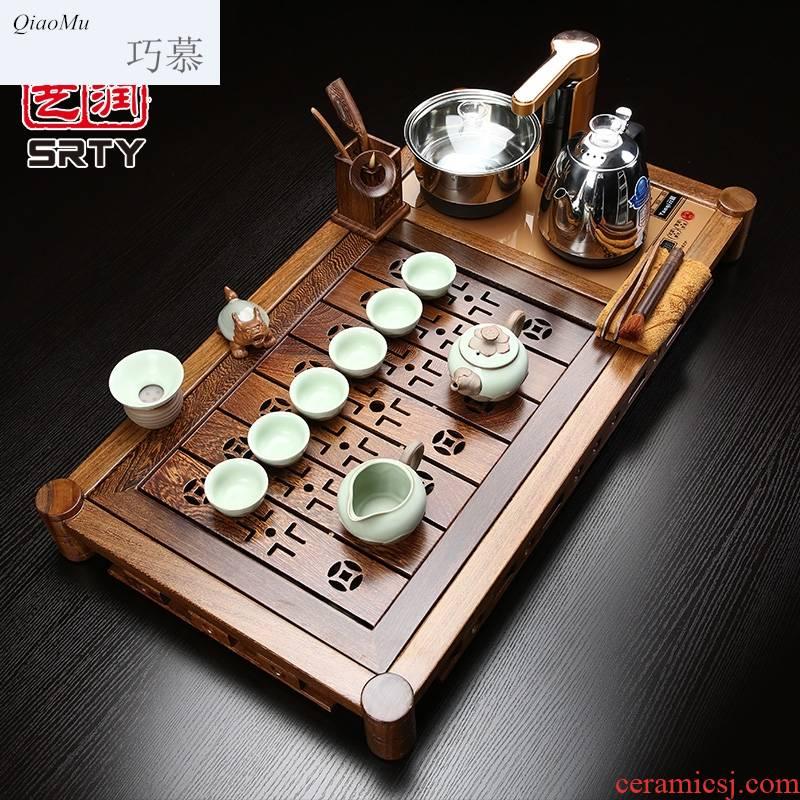 Qiao mu chicken wings wood tea set suit household purple high - grade kung fu tea set solid wood tea tray induction cooker