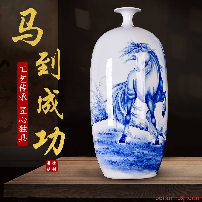 The Master of jingdezhen blue and white success hand - made ceramic vases, new Chinese style to decorate the living room a study place with a gift