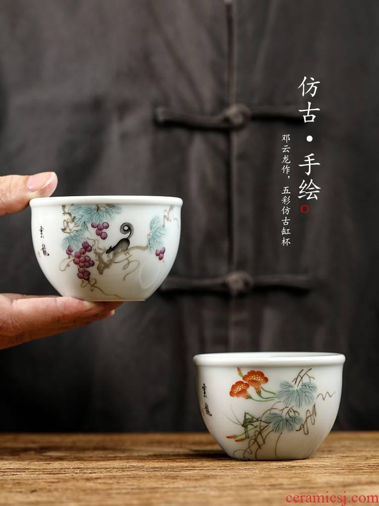 Pure manual kung fu tea set ceramic masters cup single CPU jingdezhen hand - made sample tea cup tea urn only antique tea cups