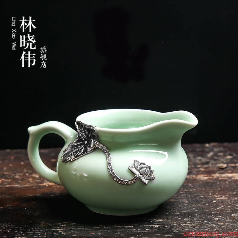 Silver ceramic fair keller celadon large device and a cup of tea and a cup of tea sea points kung fu tea tea accessories
