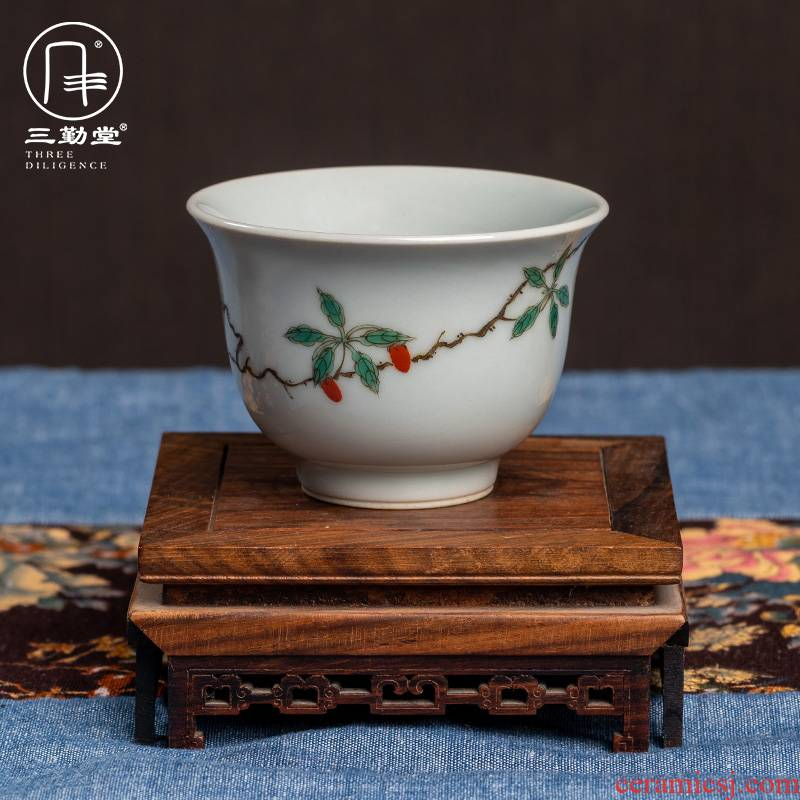 The three frequently plant ash of jingdezhen ceramic cups kung fu tea set sample tea cup hand - made S42254 literati, small single CPU