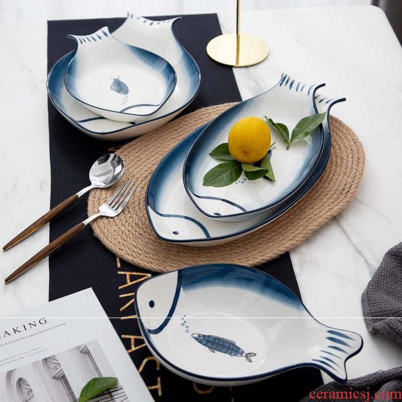 Japanese ceramics steamed fish dish oval creative household fish dish of number plate ltd. restaurant food suits for the move
